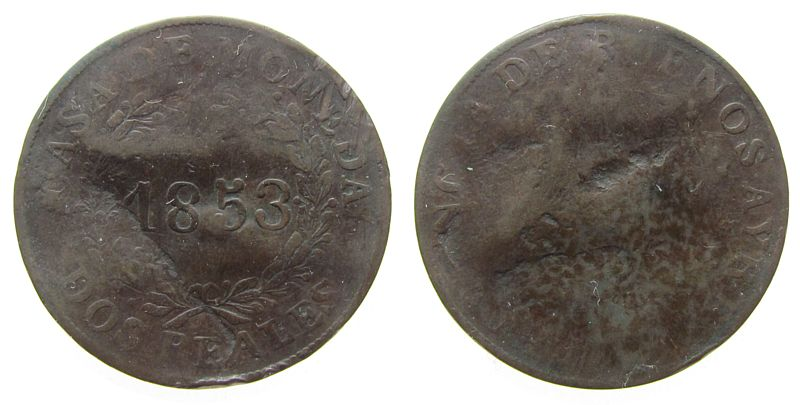 2 Reales 1853 Argentinien Ku Buenos Aires sge