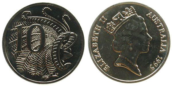 10 Cents 1995 Australien KN Elisabeth II, Leierschwanz unz