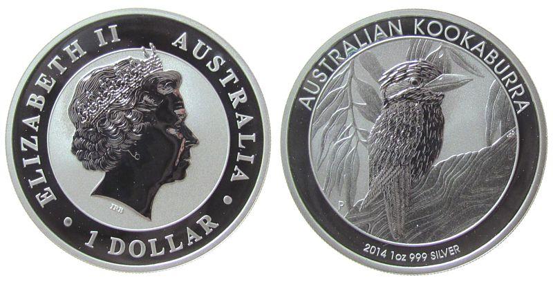 1 Dollar 2014 Australien Ag Elisabeth II, Kookaburra stgl