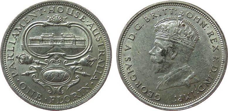 1 Florin 1927 Australien Ag Georg V, Parlament ss