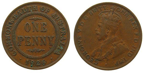 1 Penny 1926 Australien Br Georg V ss-