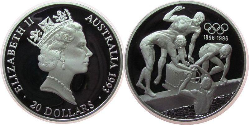 20 Dollar 1993 Australien Ag Olympiade Schwimmen pp