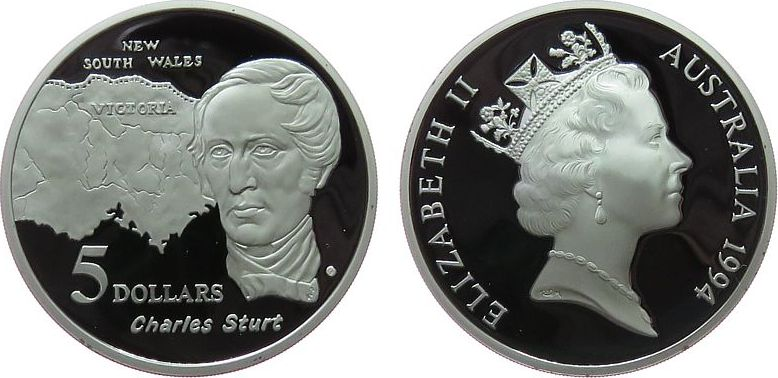 5 Dollar 1994 Australien Ag Charles Sturt pp