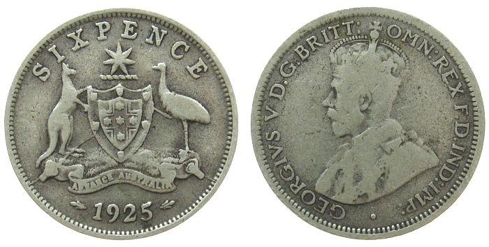 6 Pence 1925 Australien Ag Georg V s / ss
