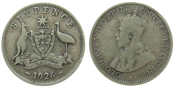6 Pence 1926 Australien Ag Georg V s / ss