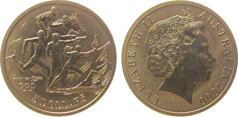 5 Dollar 2000 Australien AlBr Olympiade in Sydney - moderner Fünfkampf unz