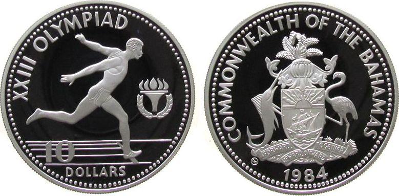 10 Dollar 1984 Bahamas Ag Olympiade Sprinter pp