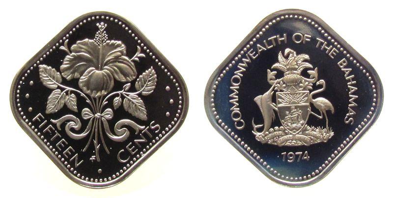 15 Cents 1974 Bahamas KN Hibiskus pp
