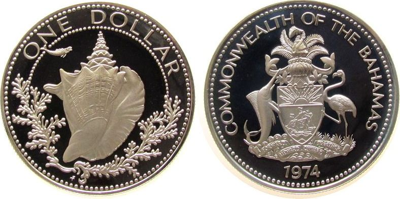 1 Dollar 1974 Bahamas Ag Schneckengehäuse pp