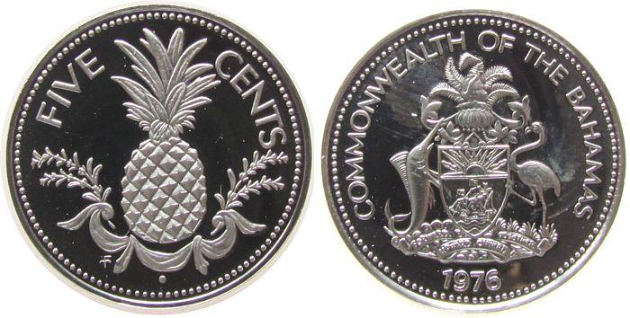 5 Cents 1976 Bahamas KN Ananas pp
