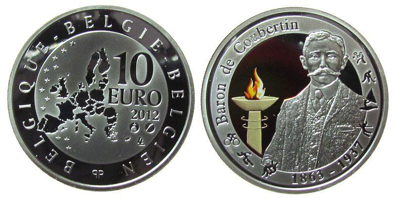 10 2012 Belgien Ag Baron de Coubertin, Farbmünze, ohne Etui, ohne Zertifikat pp