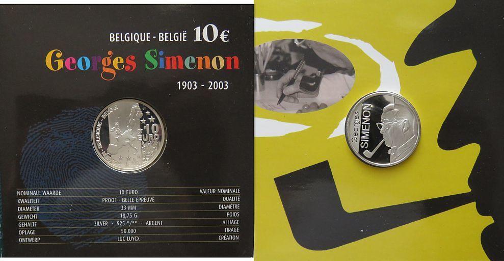 10 Euro 2003 Belgien Ag Simenon Georges, auf seinen 100. Geburtstag, Blister, ohne Umverpackung pp
