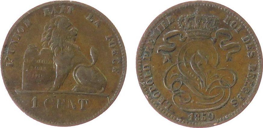 1 Centime 1859 Belgien Ku Leopold I, ohne Signatur ss