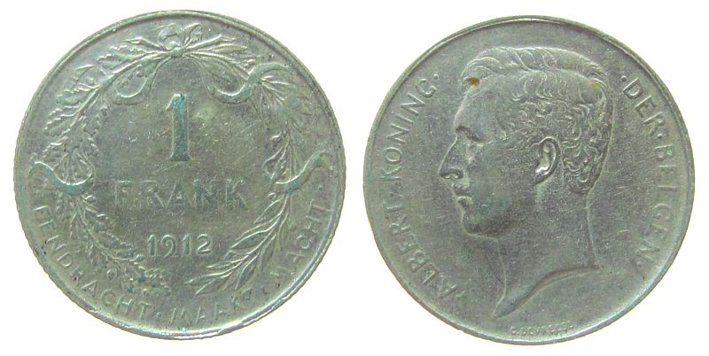 1 Franc 1912 Belgien Ag Albert I (1909-1934), Der Belgen ss