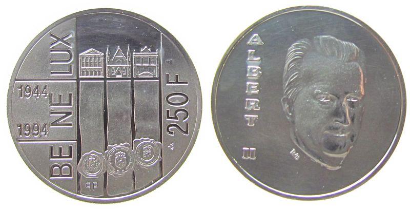 250 Francs 1994 Belgien Ag Albert II, 50 Jahre Wirtschaftsabkommen Benelux pp