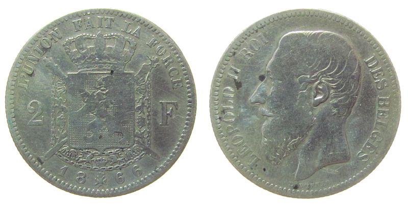2 Francs 1866 Belgien Ag Leopold II, Des Belges schön