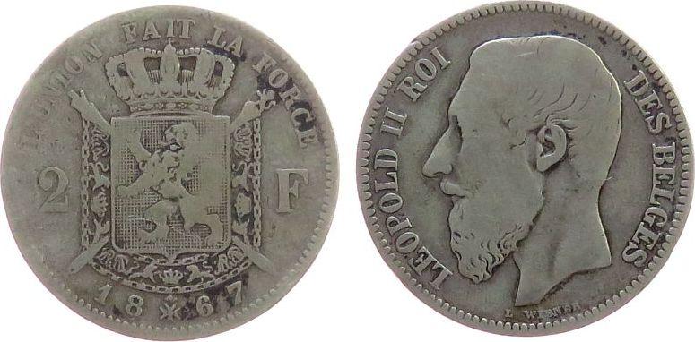 2 Francs 1867 Belgien Ag Leopold II, des Belges gutes schön