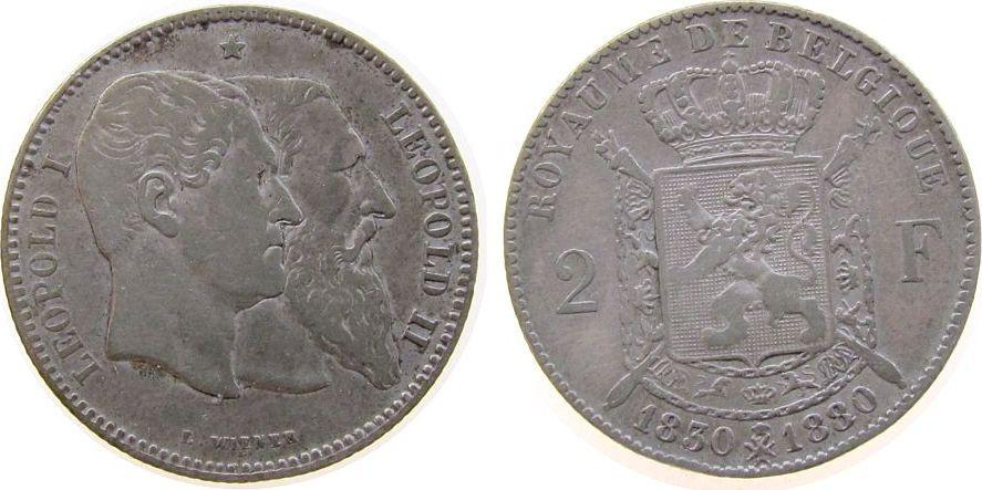 2 Francs 1880 Belgien Ag Leopold II, 50 Jahre Staatsgründung fast ss