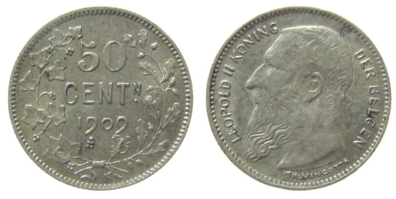 50 Centimes 1909 Belgien Ag Leopold II, der Belgen ss+
