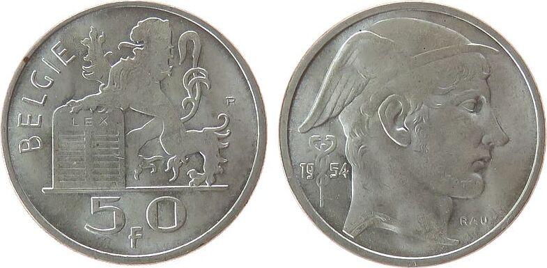 50 Francs 1954 Belgien Ag Baudouin I (1951-1993), Belgie vz-unc