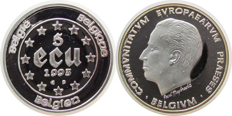 5 Ecu 1993 Belgien Ag EG-Präsidentschaft, 25.000 Ex., lose pp