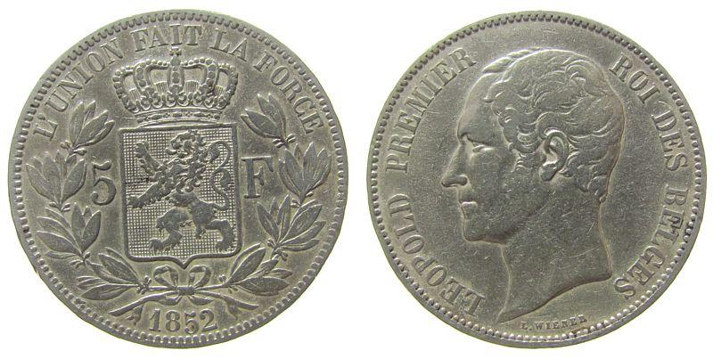 5 Francs 1852 Belgien Ag Leopold ss
