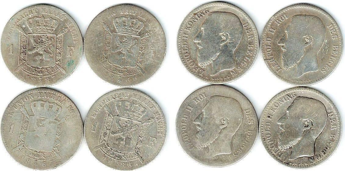 1 Franc 1866-1887 Belgien Ag Leopold II, 1866, 1867, 1886 und 1887 sge-s