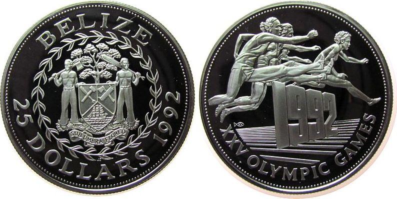 25 Dollars 1992 Belize Ag Olympiade Hürdenlauf pp