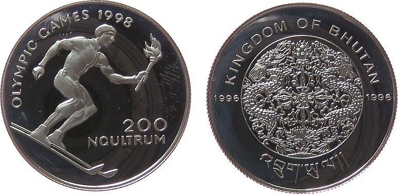 200 Ngultrums 1996 Bhutan Ag Olympiade Abfahrtsläufer mit Fackel, fleckig pp