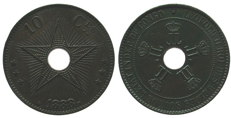 10 Centimes 1888 Belgisch Kongo Ku Leopold II, minimale Randfehler vz