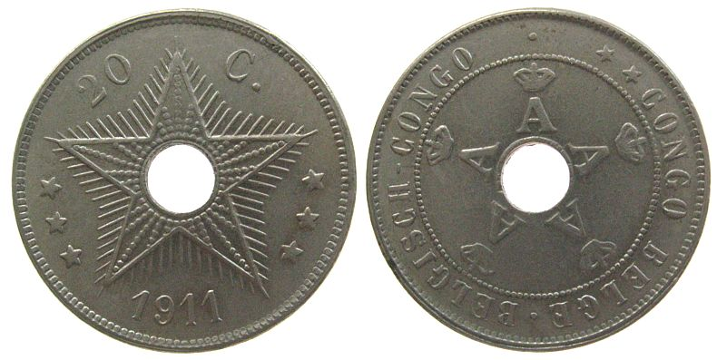 20 Centimes 1911 Belgisch Kongo KN Schön 19 unz