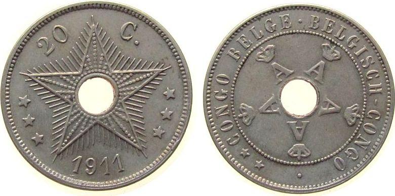 20 Centimes 1911 Belgisch Kongo KN . vz