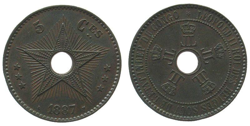 5 Centimes 1887 Belgisch Kongo Ku Leopold II, kleiner Randstoß vz