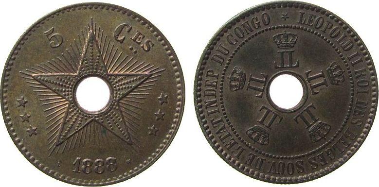 5 Centimes 1888 Belgisch Kongo Ku Leopold II, 1888/7 vz-unc