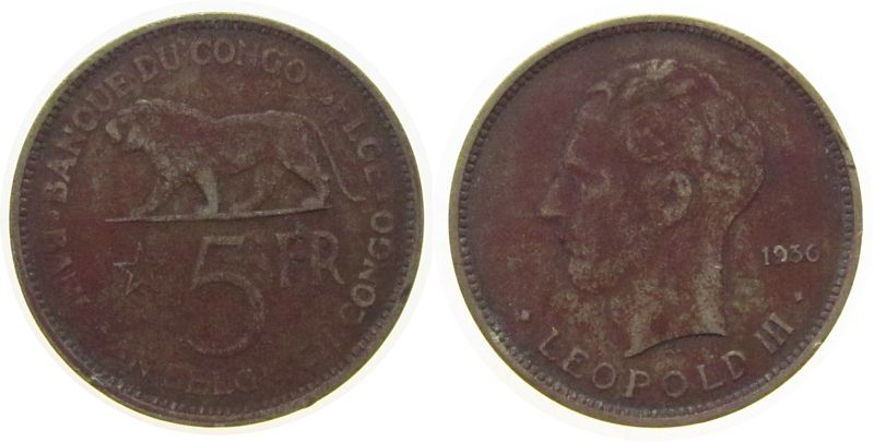 5 Francs 1936 Belgisch Kongo NiBr Löwe, fleckig-spotted s-ss