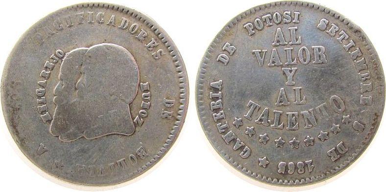 1/2 Melgarejo 1865 Bolivien Ag Republik, kurze Bärte s-/ss