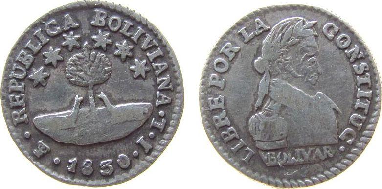 1/2 Sol 1830 Bolivien Ag Simon Bolivar, JL ss