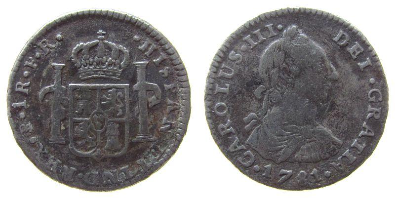 1 Real 1781 Bolivien Ag Carlos III, JR, Potosi, CC 10190 gutes schön