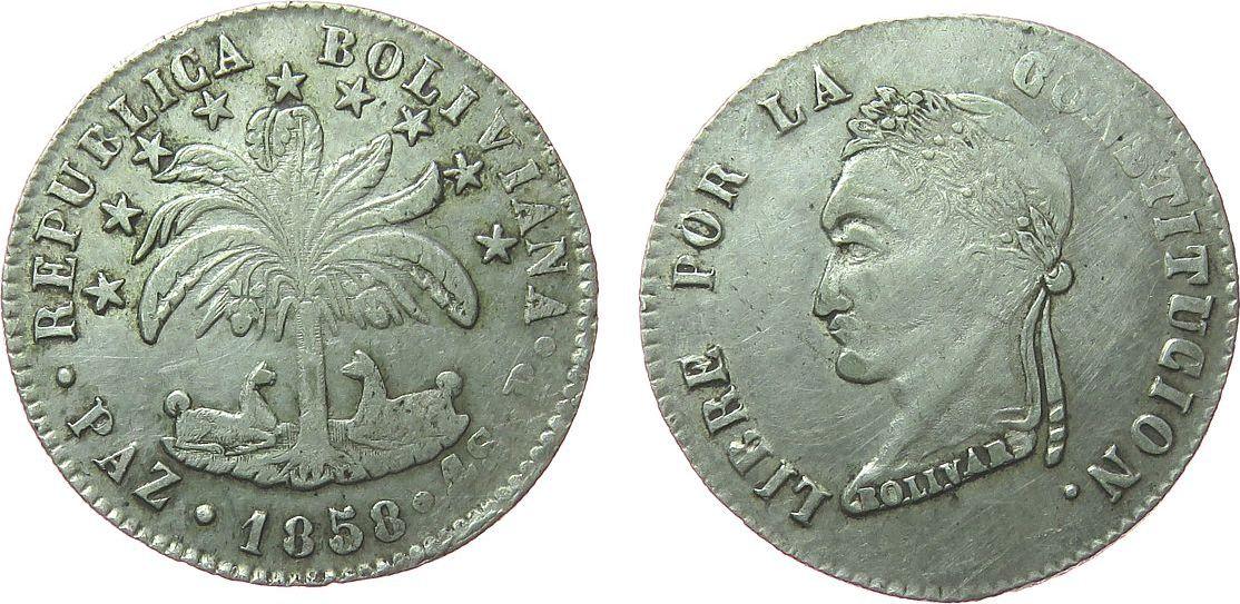 4 Soles 1858 Bolivien Ag Simon Bolivar, PAZ P, ca. 13,42 Gramm, Fonrobert 9778, La Paz de Ayacucho, selten fast ss