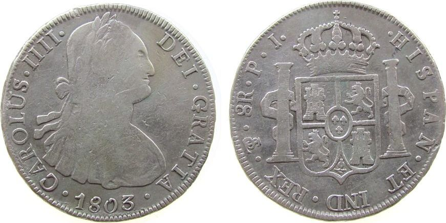 8 Reales 1803 Bolivien Ag Carlos IIII, P.J. s / ss