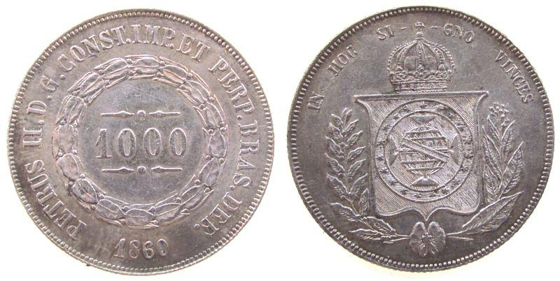 1000 Reis 1860 Brasilien Ag Pedro II vz