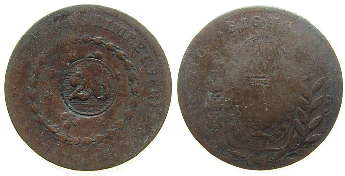 20 Reis 1835 o.J. Brasilien Ku Pedro II, Gegenstempel auf 1827 R schön