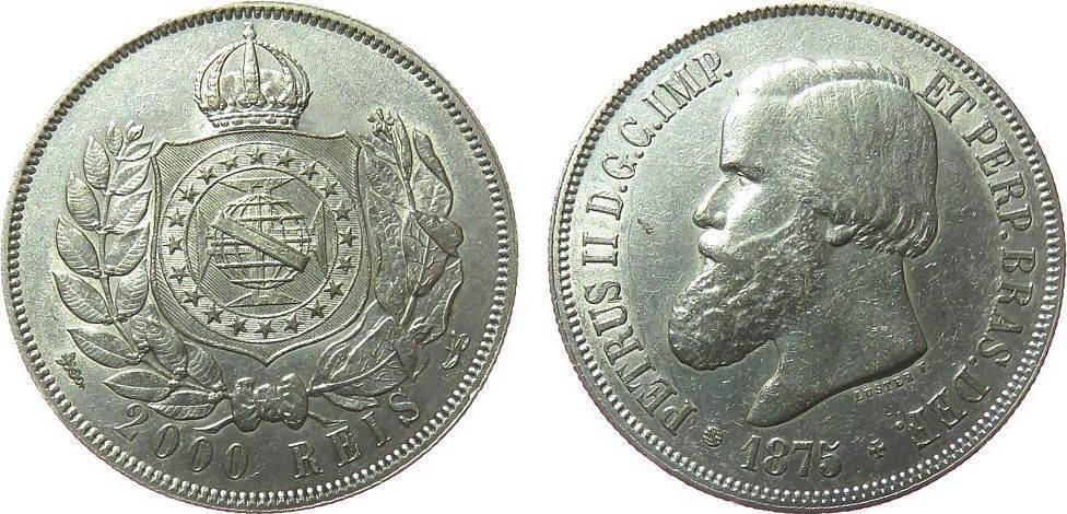 2000 Reis 1875 Brasilien Ag Petro II ss+