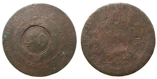 40 Reis 1823-35 Brasilien Ku Gegenstempel 40, Datum nicht ersichtlich schön