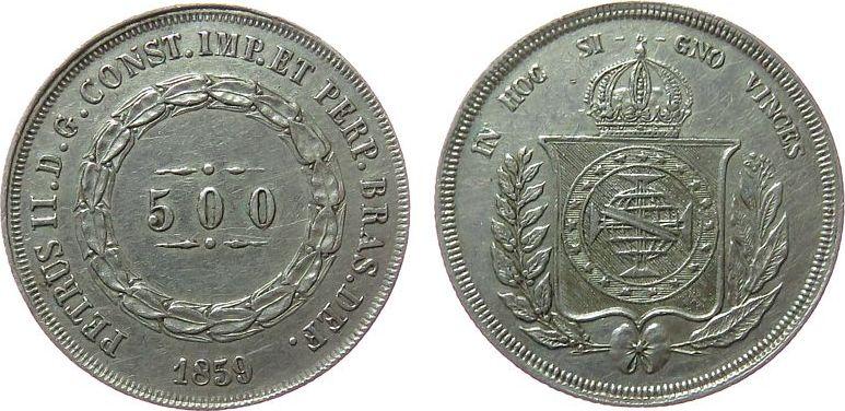 500 Reis 1859 Brasilien Ag Pedro II ss