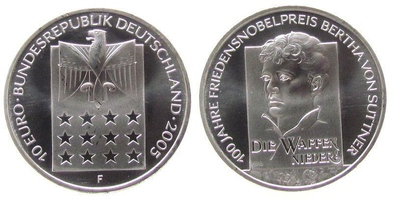 10 Euro 2005 Deutschland Ag Bertha von Sutter stgl