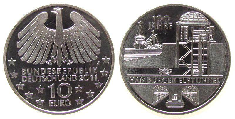 10 Euro 2011 Deutschland KN 100 Jahre Hamburger Elbtunnel vz-stgl