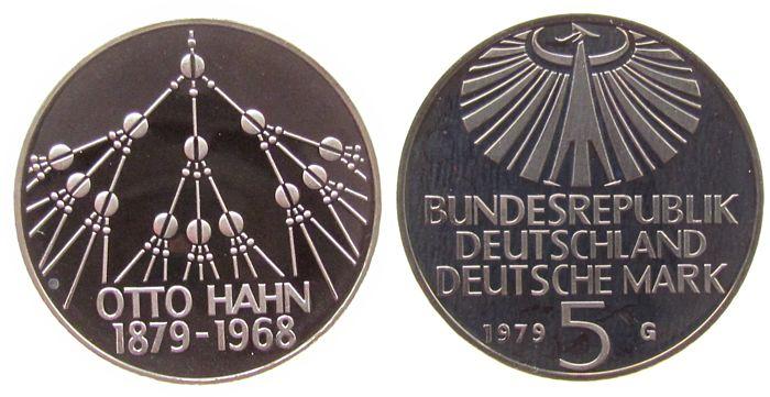 5 DM 1979 BRD KN Otto Hahn, offen pp