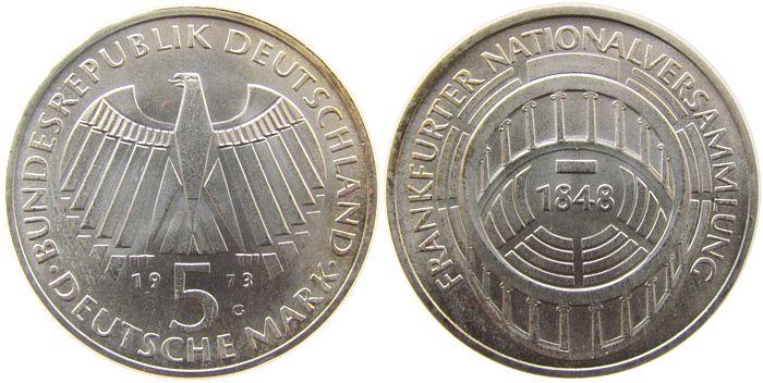 5 DM 1973 BRD Ag Nationalversammlung vz-stgl
