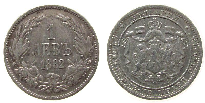 1 Lev 1882 Bulgarien Ag Alexander I ss